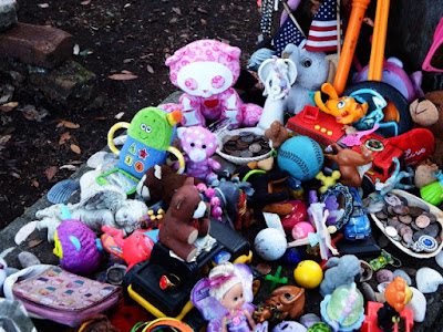 Toys on a 200 year-old grave when a little girl is buried in Beaufort North Carolina