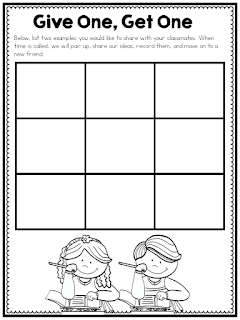 Give One, Get One is a great brainstorming strategies. It allows kids to get up and move, encourages talking between students, and gives a lesson energy. Check out this post for other activator ideas and download this FREEBIE for use in your classroom.