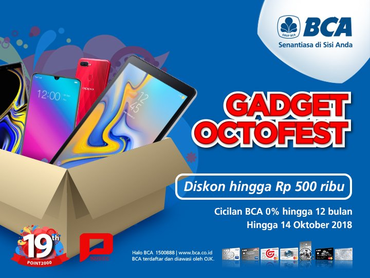 Bank BCA - Promo Diskon s.d 500 Ribu di Point 2000 (s.d 14 Okt 2018)