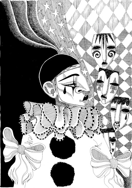 Cross Hatching Cartoon Sad Clown