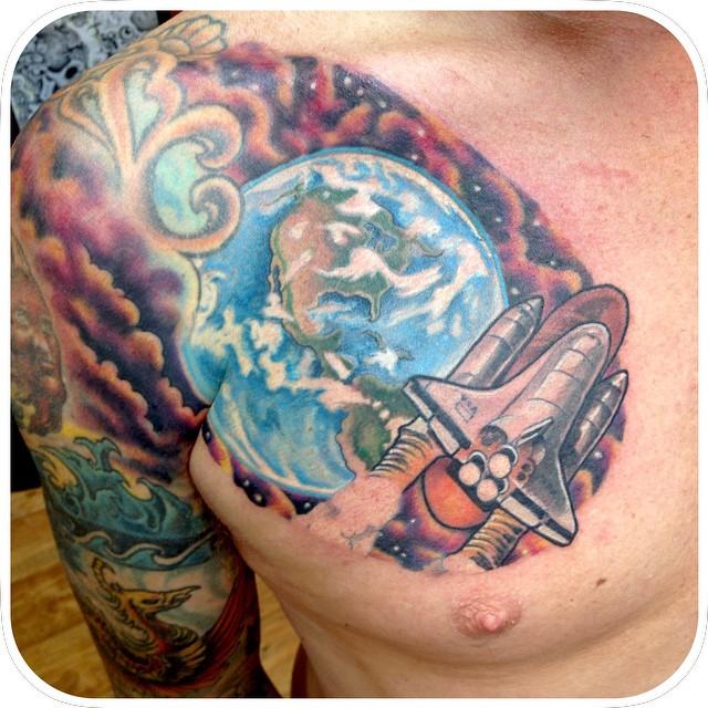 eart tattoo design art on chest