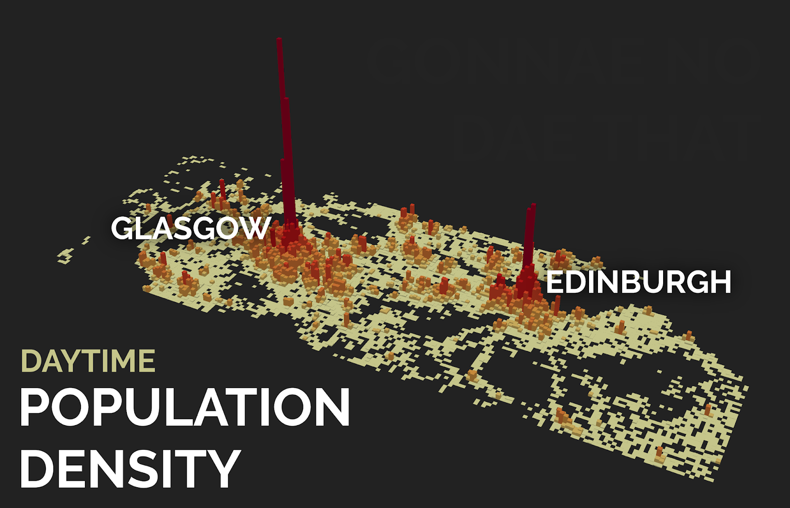 Glasgow has the highest daytime population density