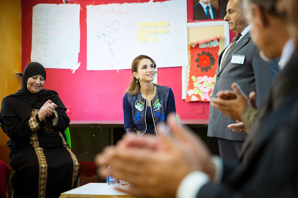 Queen Rania Al Abdullah of Jordan visited Urban Development Charitable Society in Bait Ras village of Irbid city, Queen Rania Style wore deresses Gant Fashions