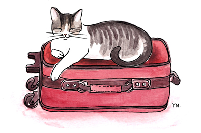 Cat is on a suitcase by Yukié Matsushita