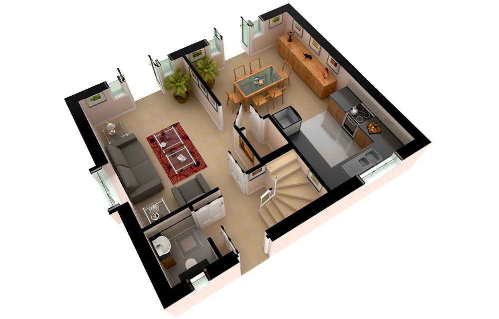 3D Floor Plan Rendering  Painting Of Floor 7