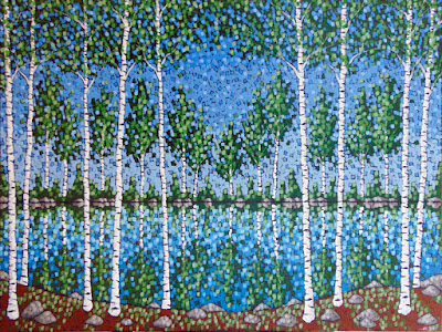 Spring Rainstorm acrylic painting by artist aaron kloss, spring birch painting, reflection, pointillism, painting of a minnesota lake
