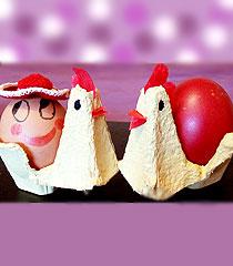 Великденска кошничка кокошка от кора за яйца