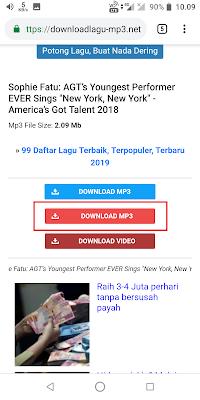 Karena terdapat 2 pilihan Download MP3, Sobat pilih yang tengah atau yang bewarna merah. Sebenarnya pada link pertama juga bisa digunakan, hanya saja pada link kedua lebih cepat dalam proses download.