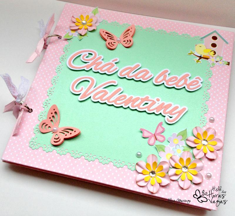 livro álbum de mensagens chá de bebê aniversário jardim encantado passarinhos flores rosa e verde claro menina