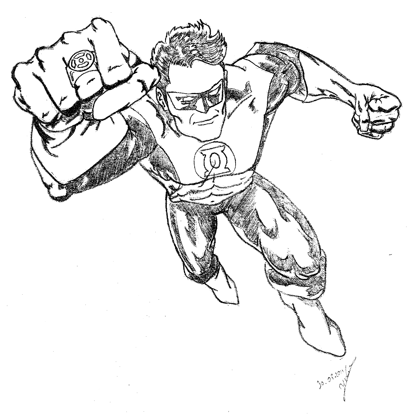 Green lantern inspiration juju gribouille - Coloriage dc comics ...