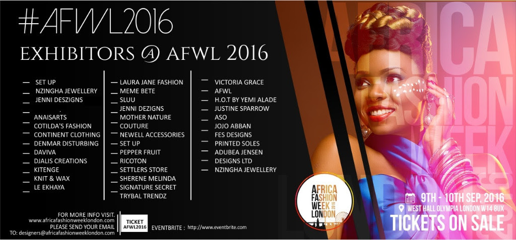 Africa Fashion Week London 2016 exhibitor list