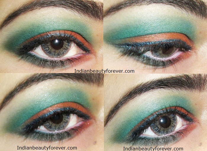 Eye makeup Orange and green