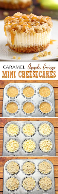 Caramel Apple Crisp Mini Cheesecakes