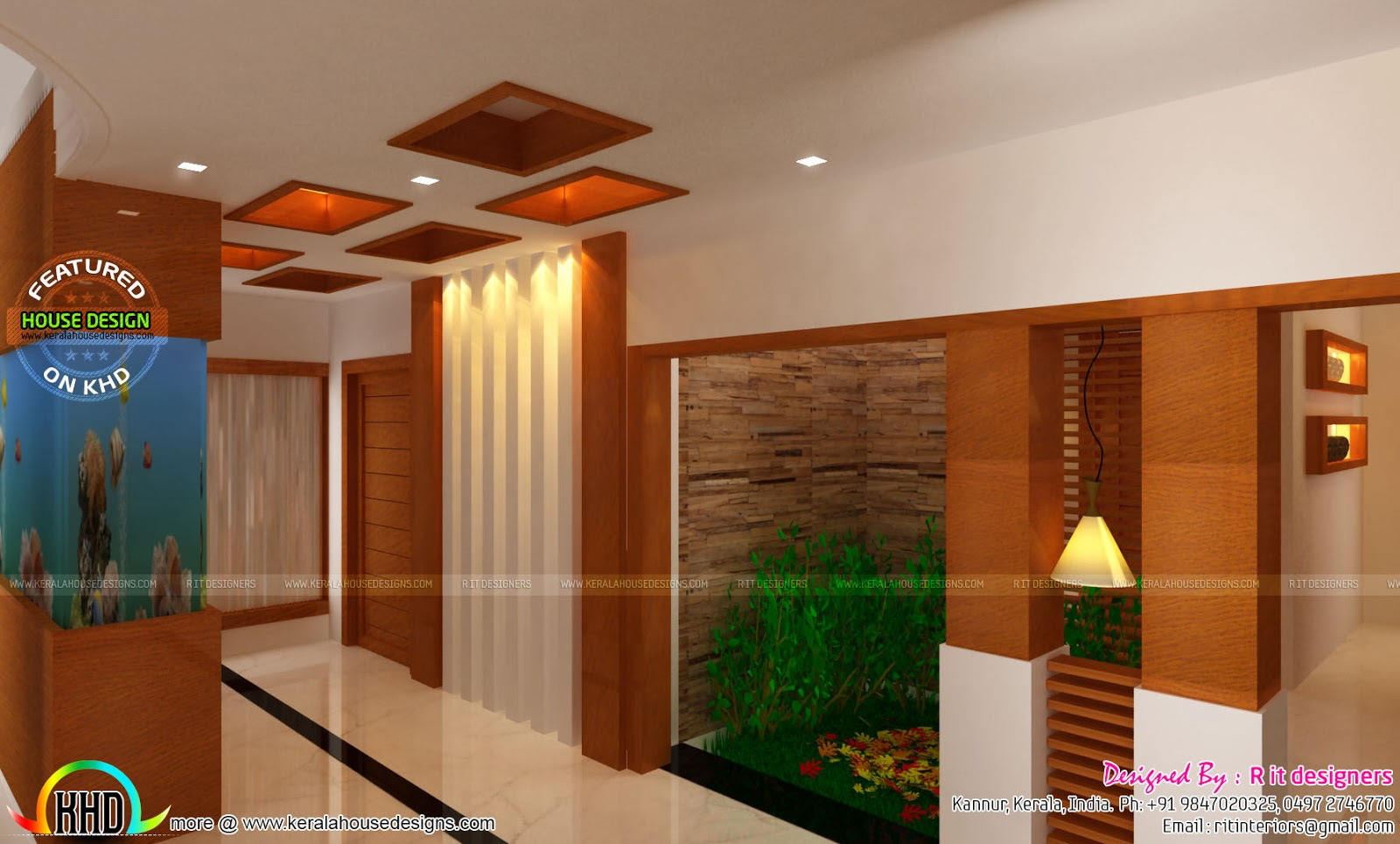 Living Room Interior With Wooden Finish Master Bedroom Courtyard Aquarium Staircase
