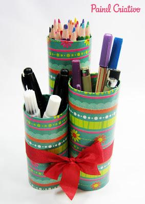 reciclagem reciclar artesanato diy meio ambiente faça voce mesmo  reciclavel rolo de papel higienico rolinho porta lapis treco