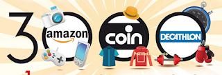 Logo Concorso '' 3.000 buoni motivi'': vinci 3 buoni da 1.000 € Amazon, Decathlon e COIN