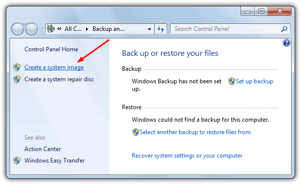 Create a Windows 7 System Image for Full Backup and Restoration