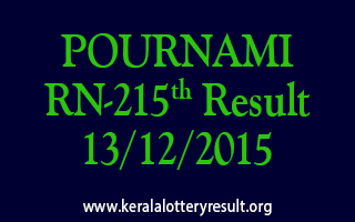 POURNAMI RN 215 Lottery Result 13-12-2015