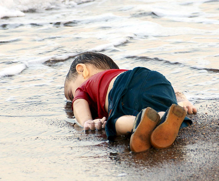 Artists Around The World Respond To Tragic Death Of 3-Year-Old Syrian Refugee - 3-year-old Aylan Kurdi as he was found