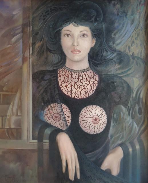 Alberto Pancorbo arte moderno hiperrealista surrealista mágico desnudo mujer con senos y pájaro negro