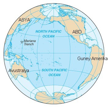 Pasifik Okyanusu. Pasifik Okyanusu Harita