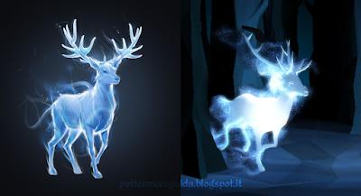 Il Cervo, Patronus di Harry Potter, rappresentato nella vecchia (a sx) e nuova (a dx) grafica di Pottermore