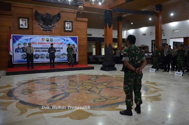 Gelar Apel Sinergitas TNI-POLRI, Polres dan Kodim 0806 Trenggalek Siap Amankan Pemilu 2019