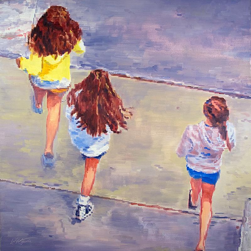 Girls Walking On The Boardwalk Latest Painting