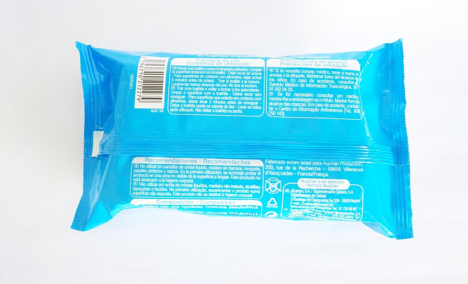 Embalagem Toalhitas de Limpeza Multi Superfícies, Auchan - Jumbo