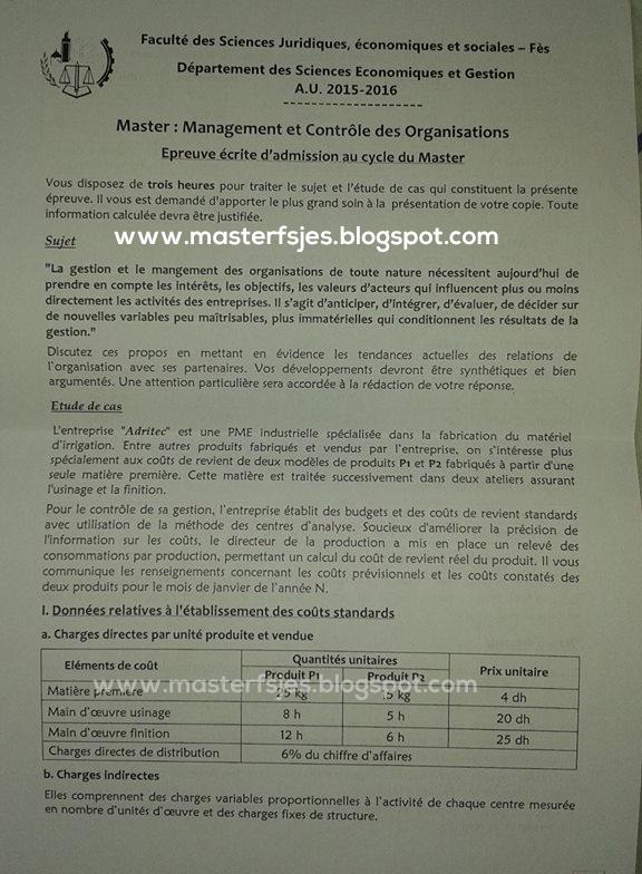 Master Management et Contrôle des Organisations