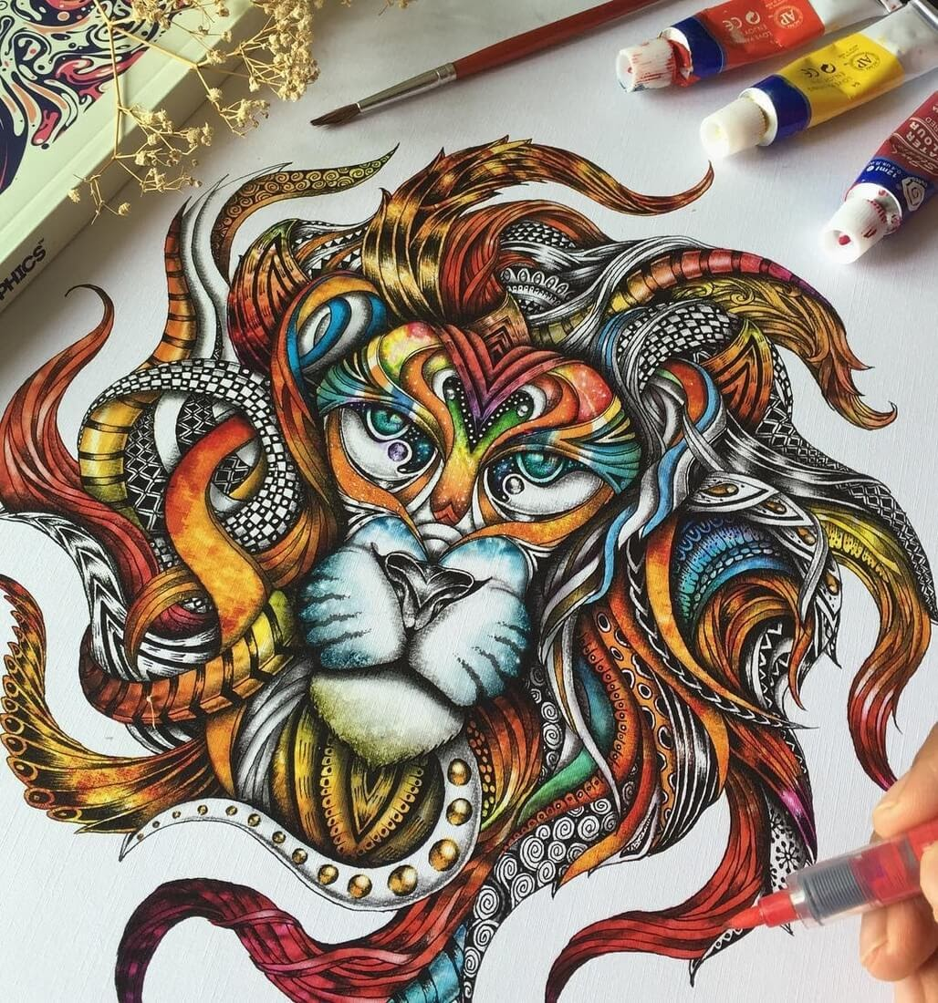 11-Lion-Head-Maahy-Drawings-Given-the-Zentangle-Treatment-www-designstack-co
