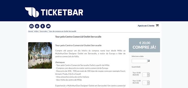 Ticketbar para ingressos para o tour pelo outlet Serravalle