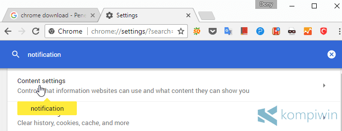 notifikasi website mengaktifkan