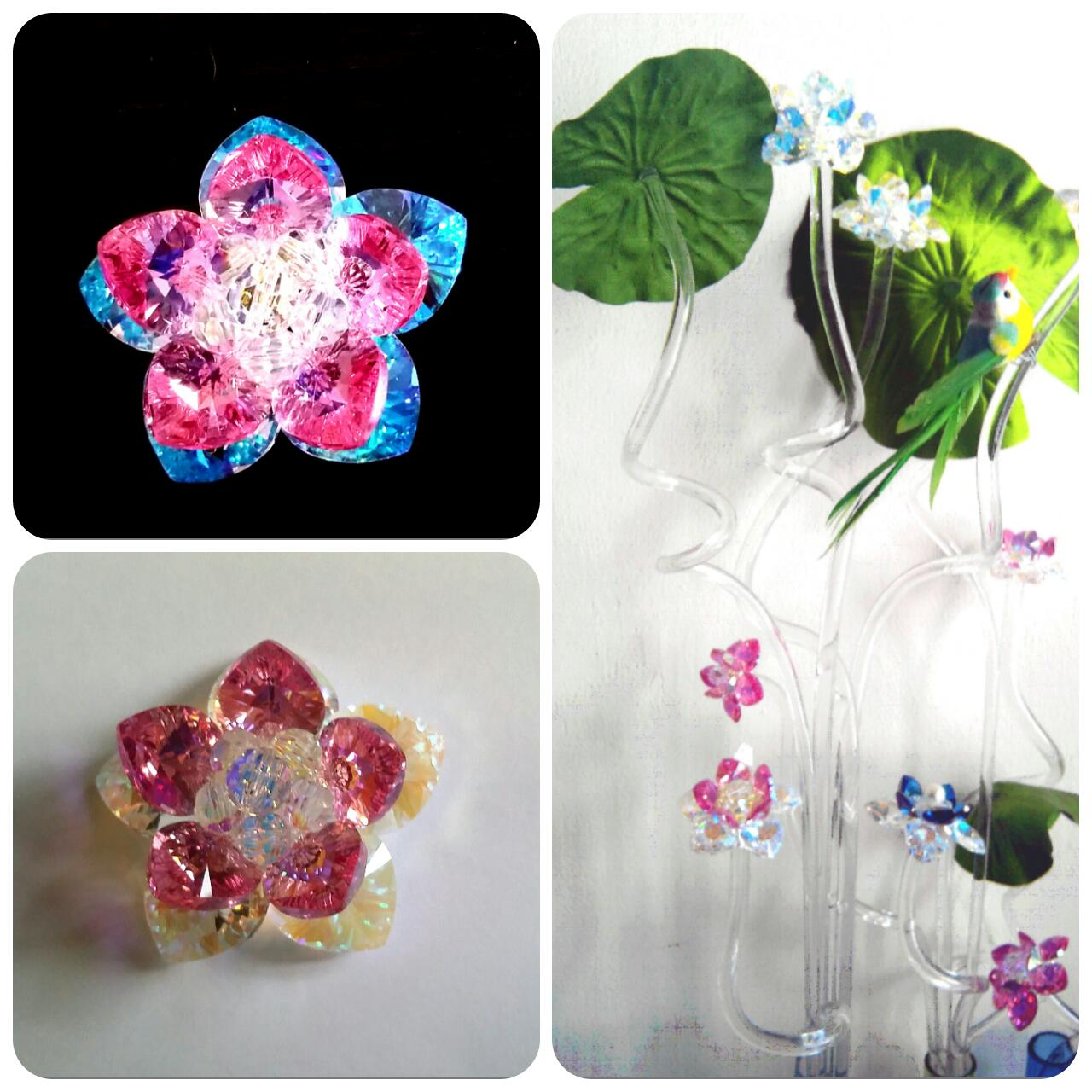 Sacred Crystal Lotus Flowers - Sample Display - Made of Crystals From  Swarovski - Austria (A/B)S