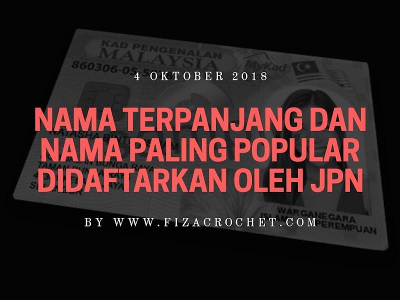 Nama Terpanjang dan Nama Paling Popular Didaftarkan Oleh JPN Malaysia 2018