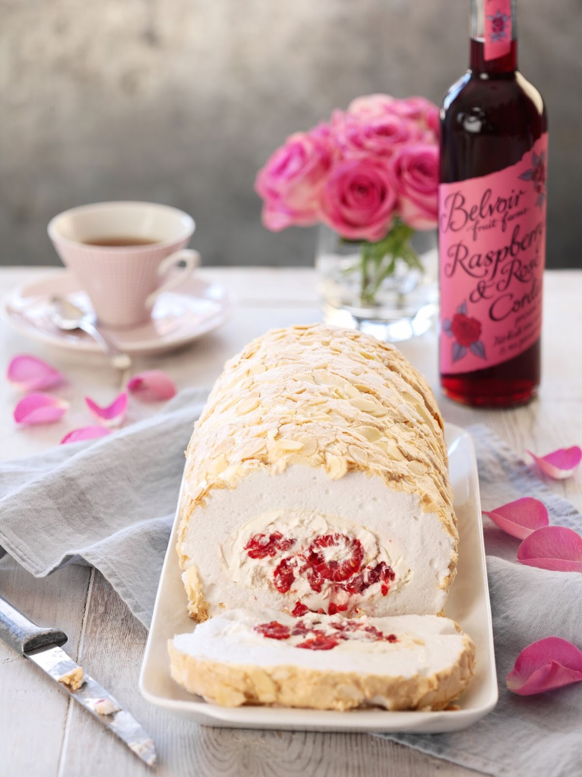 Raspberry And Rose Meringue Roulade