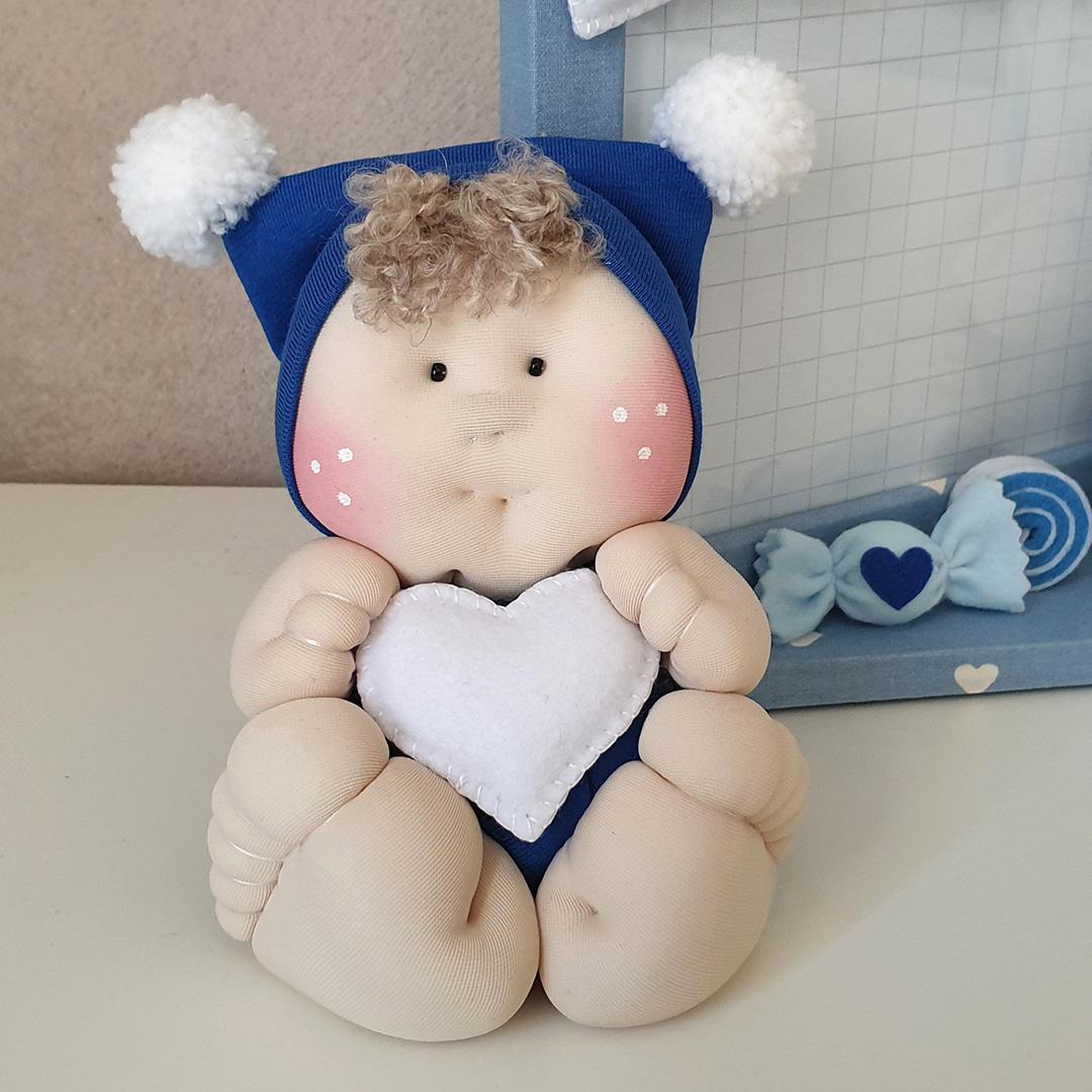 Bambolotto nascita maschietto cuore