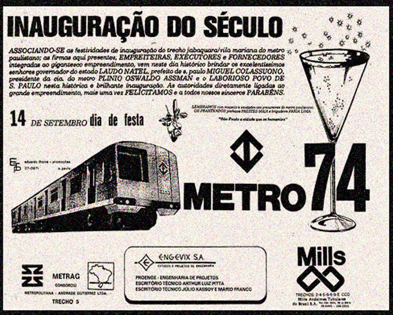 Campanha da grande inauguração da primeira linha do metrô da cidade de São Paulo em 1974