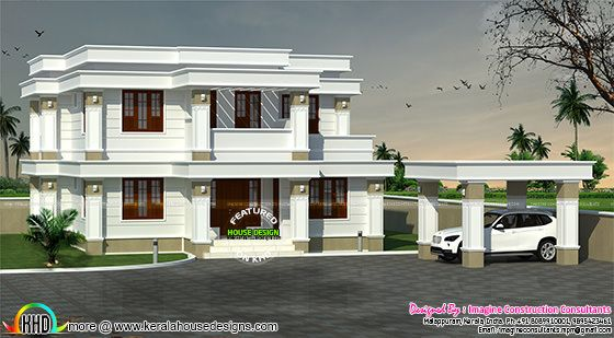 Decorative model flat roof home