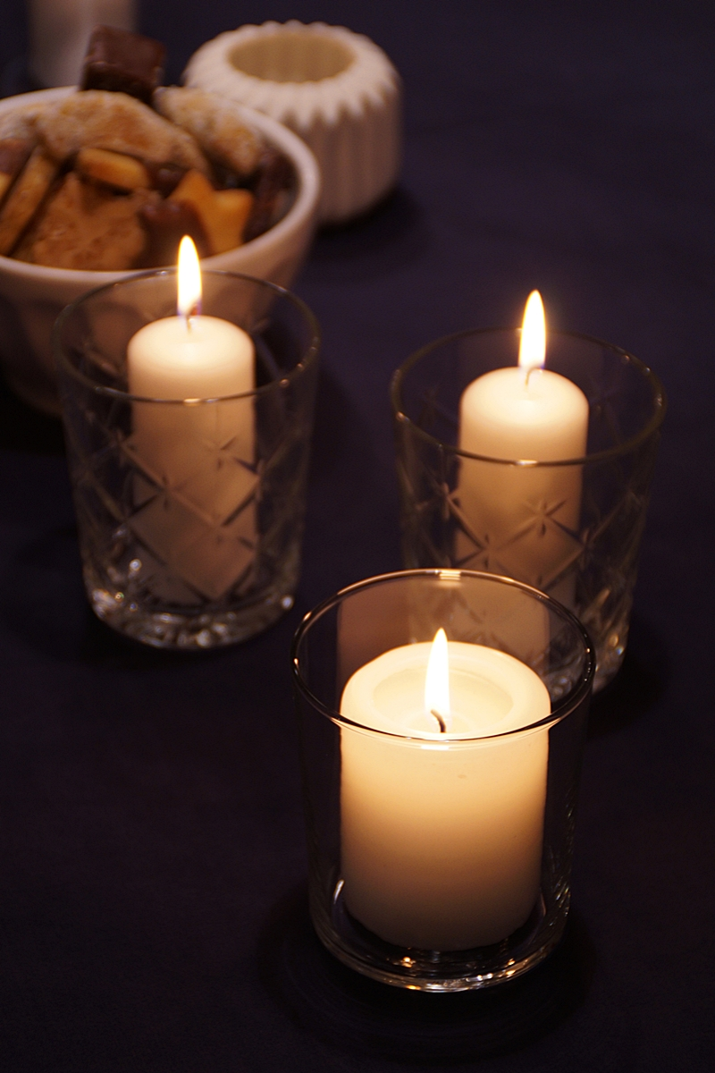 White Candles in Glasses simple Table Decoration