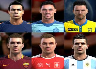 Faces: Diego Benaglio, Sergio Rico, Bostjan Cesar, Edin Dzeko, Xherdan Shaqiri, Fernando Gago, Pes 2013