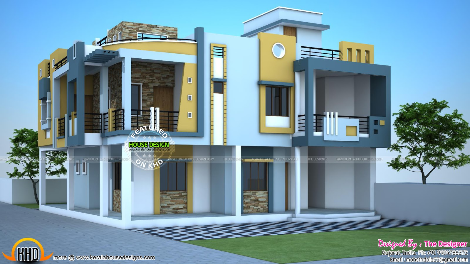 Modern duplex house in india kerala home design and for Second floor house plans indian pattern