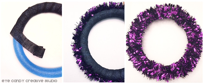 wrapping wreath with ribbon, purple garland, burlap ribbon, pool noodle craft