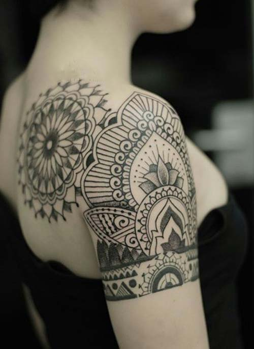 kadın omuz dövmeleri mandala tumblr woman shoulder tattoos