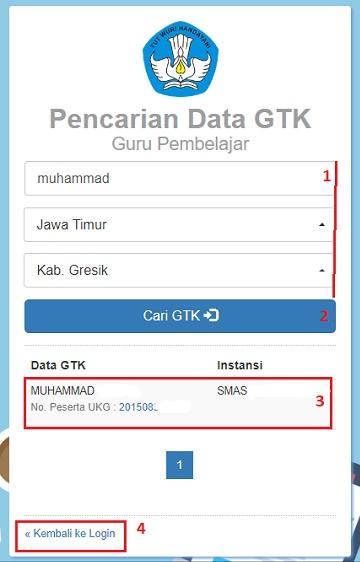 pencarian data gtk