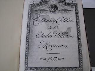 Copia de la Constitución Política de los Estados Unidos Mexicanos. 1917