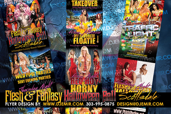 Flesh & Fantasy Halloween Ball Sexy and Scandalous and Scintillating Halloween Party Flyer Design Featuring Pool Parties by day and sexy themed Halloween Parties at night