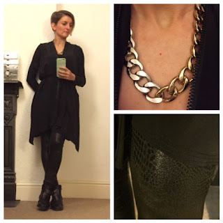 All Saints dress and leather look leggings