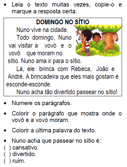 Texto DOMINGO NO SÍTIO, de Elisângela Terra