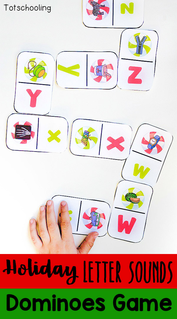 FREE printable Alphabet Domino game with a Holiday theme! Preschoolers and kindergarten kids can practice letter matching, letter sounds and ABC sequence while playing a fun, hands-on game!